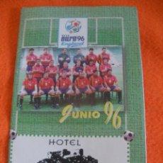 Coleccionismo deportivo: CALENDARIO DE FUTBOL DE LA EUROCOPA 96. PUBLICIDAD VILLA DE AGUILAR DE CAMPOO.. Lote 40346978