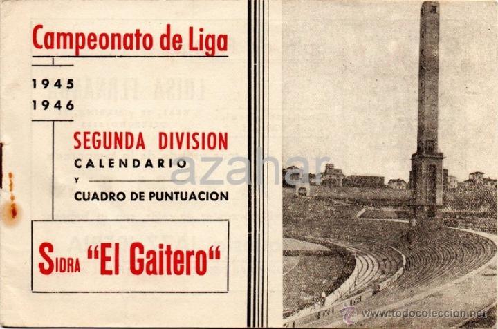 CALENDARIO FUTBOL LIGA 2ºDIVISION, AÑO 1945-46. FOTOS C. FERROL Y DEPORTIVO CORUÑA, (Coleccionismo Deportivo - Documentos de Deportes - Calendarios)