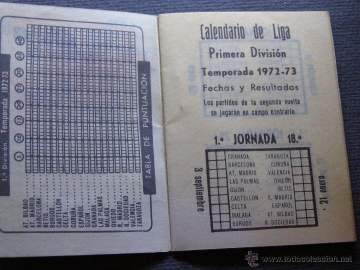 Coleccionismo deportivo: CALENDARIO DINÁMICO DE LIGA 1972-73 - Cigarros Solisombra - Goya - Foto 3 - 41692468