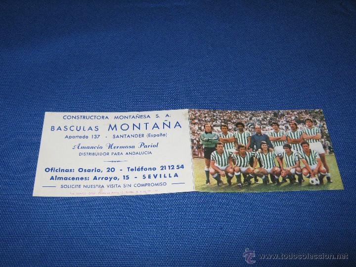 Coleccionismo deportivo: CALENDARIO DE DE PRIMERA DIVISION DE LA TEMPORADA 1980/81 - REAL BETIS - PUBLICIDAD BASCULAS MONTAÑ - Foto 2 - 43976974