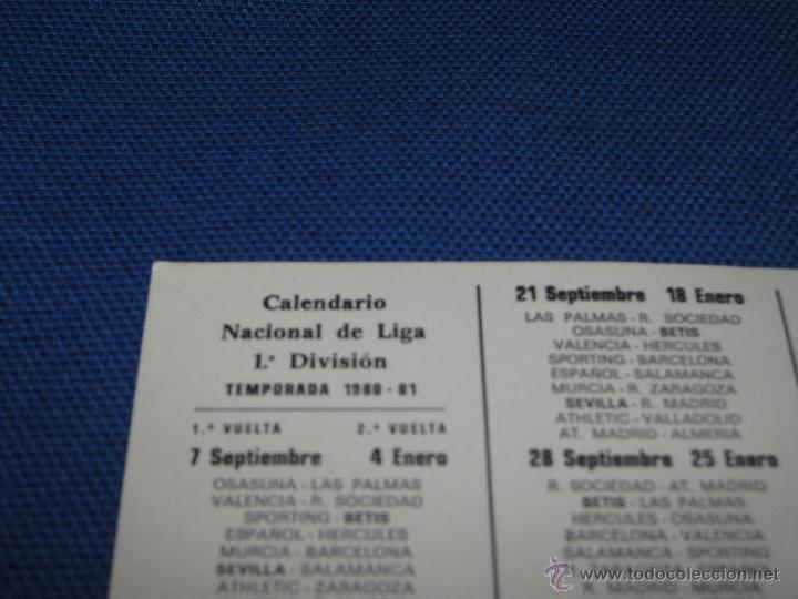 Coleccionismo deportivo: CALENDARIO DE DE PRIMERA DIVISION DE LA TEMPORADA 1980/81 - REAL BETIS - PUBLICIDAD BASCULAS MONTAÑ - Foto 3 - 43976974