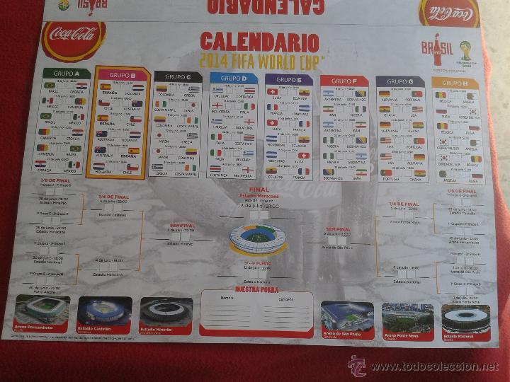 Coleccionismo deportivo: CALENDARIO GRAN FORMATO TIPO PARED MUNDIAL DE FUTBOL BRASIL 2014 COCA COLA COCACOLA POWERADE INIESTA - Foto 4 - 44242371