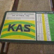 Coleccionismo deportivo: CALENDARIO CAMPEONATO MUNDIAL DE FUTBOL 1982 PUBLICIDAD KAS. Lote 44257183