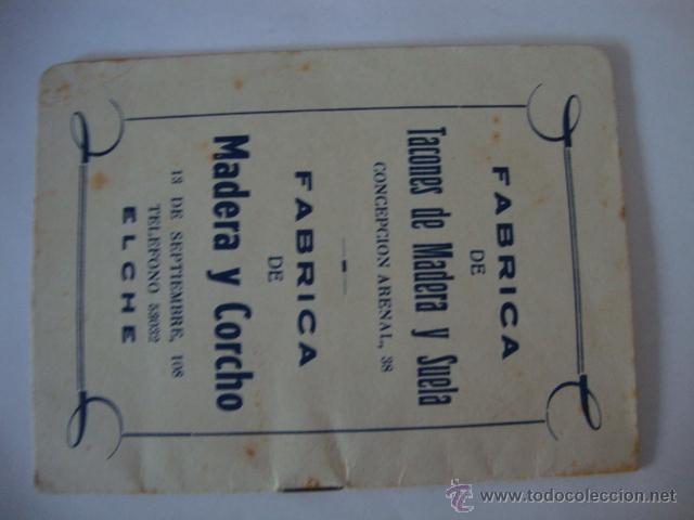 Coleccionismo deportivo: CALENDARIO TEMPORADA 1962-1963, PUBLICIDAD ELCHE LOTCRE250 - Foto 3 - 44789989