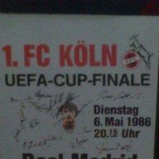 Coleccionismo deportivo: CALENDARIO BOLSILLO RESUMEN ESTADISTICAS FINAL COPA DE LA UEFA 1986 COLONIA / FC KOLN - REAL MADRID. Lote 46123267