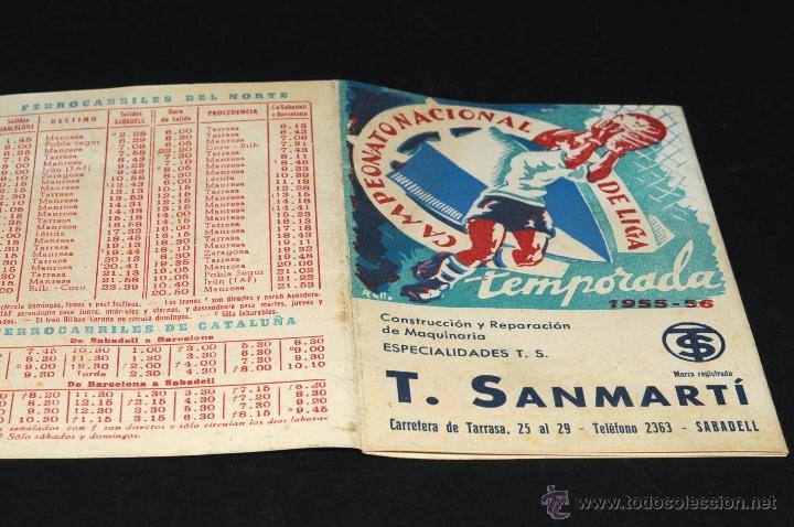 Coleccionismo deportivo: CALENDARIO CAMPEONATO NACIONAL DE LIGA TEMPORADA 1955 - 1956 PROPAGANDA T. SANMARTI - Foto 4 - 47080211