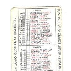 Coleccionismo deportivo: CALENDARIO DEL CADIZ C.F. TEMPORADA 1983-84.PUBLICIDAD ZUMOS JUVER. Lote 47280900