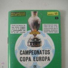 Dinámico apendice 16 B . Campeonatos , Copa Europa, Campeones liga, . Calendario