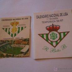 Coleccionismo deportivo: CONJUNTO 2 CALENDARIOS REAL BETIS BALOMPIE,TEMPORADAS 82-83 Y 96-97. Lote 48950348