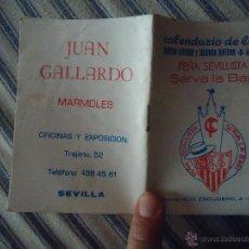 Coleccionismo deportivo: CALENDARIO DE LIGA 89 90 PRIMERA Y SEGUNDA DIVISION, PEÑA SEVILLISTA SERVA LA BARI SEVILLA. Lote 49949193