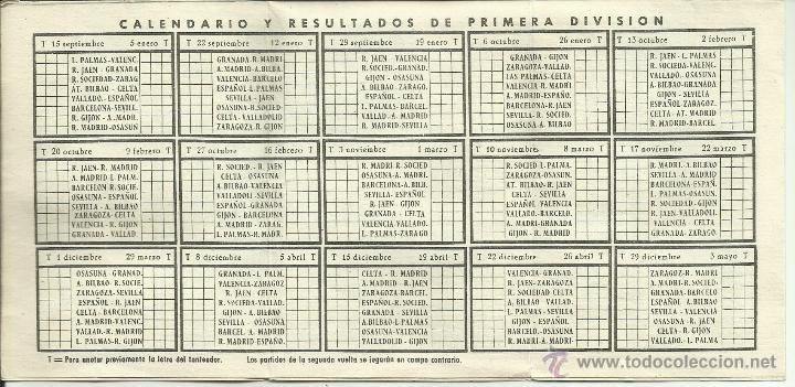 Coleccionismo deportivo: Calendario de Liga Fútbol 1957-1958 *genuino* - Foto 2 - 50154409