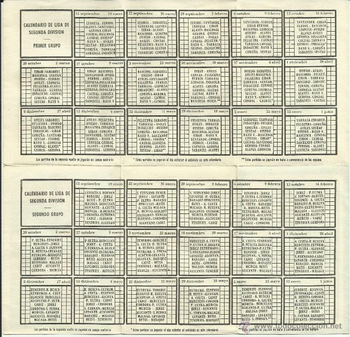 Coleccionismo deportivo: Calendario de Liga Fútbol 1957-1958 *genuino* - Foto 4 - 50154409