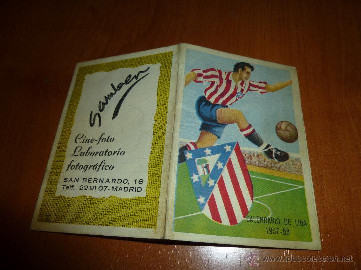 CALENDARIO DE LIGA 1957 - 58, ATLETICO DE MADRID, DESPLEGABLE (Coleccionismo Deportivo - Documentos de Deportes - Calendarios)