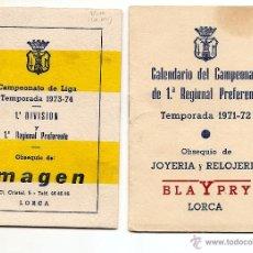 Coleccionismo deportivo: LORCA (MURCIA) - DOS CALENDARIOS TEMPORADAS 1971-72 Y 1973-74 - CON PUBLICIDAD - VER DESCRIPCIÓN. Lote 50966225