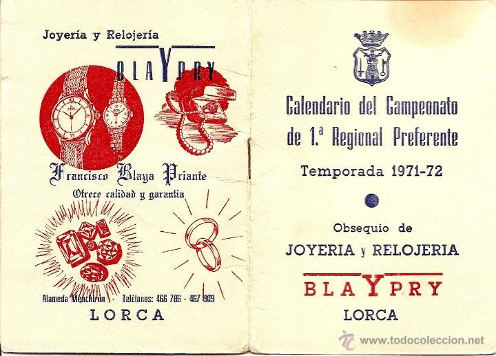 Coleccionismo deportivo: LORCA (MURCIA) - DOS CALENDARIOS TEMPORADAS 1971-72 Y 1973-74 - CON PUBLICIDAD - VER DESCRIPCIÓN - Foto 4 - 50966225