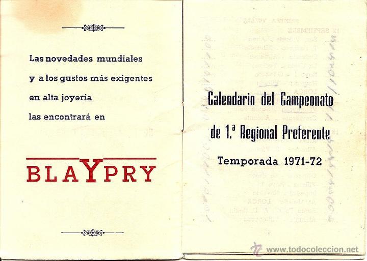 Coleccionismo deportivo: LORCA (MURCIA) - DOS CALENDARIOS TEMPORADAS 1971-72 Y 1973-74 - CON PUBLICIDAD - VER DESCRIPCIÓN - Foto 5 - 50966225