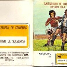 Coleccionismo deportivo: MURCIA - CALENDARIO DE FUTBOL TEMPORADA 1980-81 - OBSEQUIO DE TARJETA DE COMPRA CM. Lote 50968375