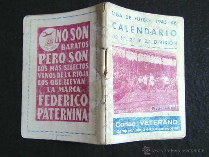Coleccionismo deportivo: CALENDARIO LIGA DE FUTBOL 1945-46 - Foto 5 - 51062793