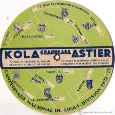 Coleccionismo deportivo: FUTBOL,DISCO CALENDARIO CAMPEONATO NACIONAL DE LIGA 1ª DIVISION AÑO 1932-33 - PUBLICIDAD KOLA ASTIER. Lote 51235775