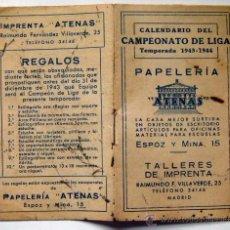 Coleccionismo deportivo: CALENDARIO DEL CAMPEONATO DE LIGA TEMPORADA 1943-1944. Lote 51352152