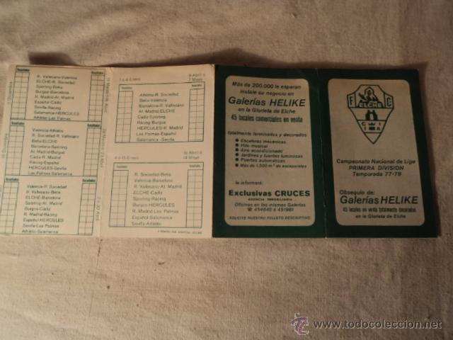 Coleccionismo deportivo: ANTIGUO CALENDARIO FUTBOL ELCHE - Foto 2 - 51553486