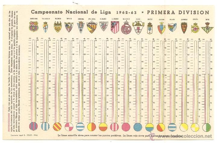 Coleccionismo deportivo: Calendario de fútbol de 1962-1963 con publicidad de Ceregumil - Foto 2 - 51667063