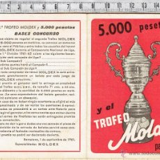 Coleccionismo deportivo: CALENDARIO CAMPEONATO DE LIGA 1961/62-TROFEO MOLDEX.. Lote 53607651