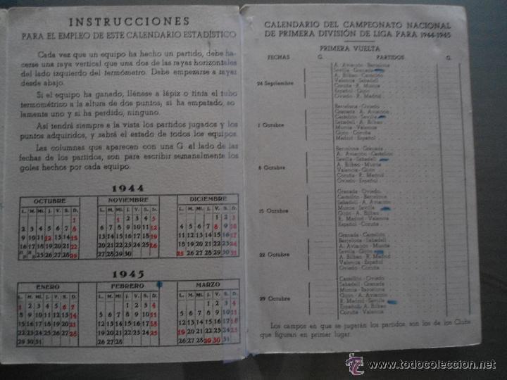 Coleccionismo deportivo: ANTIGUO CALENDARIO ESTADISTICO CAMPEONATO NACIONAL PRIMERA DIVISION 1944-1945 - Foto 4 - 54051806