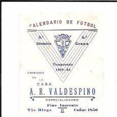 Coleccionismo deportivo: CALENDARIO DE FUTBOL. 3ª DIVISIÓN. TEMPORADA 1952-53. . Lote 55921924