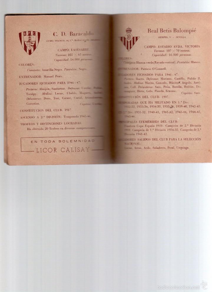 Coleccionismo deportivo: calendario de futbol temporada 1946-47 - Foto 3 - 56156603