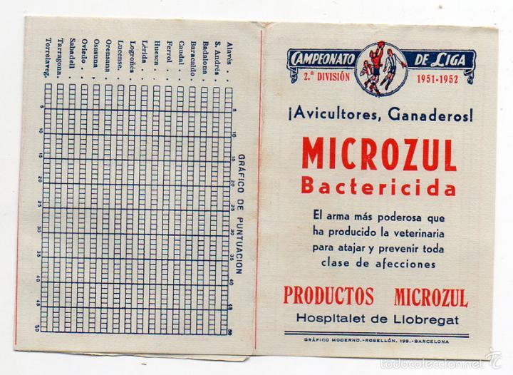 CALENDARIO LIGA FUTBOL SEGUNDA DIVISION 1951 1952. PUBLICIDAD BACTERICIDA. DESPLEGABLE (Coleccionismo Deportivo - Documentos de Deportes - Calendarios)