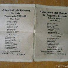 Coleccionismo deportivo: CALENDARIO FUTBOL DE PRIMERA Y SEGUNDA DIVISION 1962 1963 . - ROSARIO PERPETUO DE CADIZ ORACION. Lote 57217255
