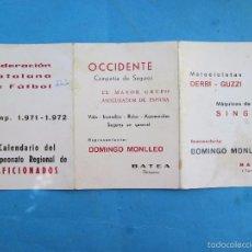 Coleccionismo deportivo: FEDERACION CATALANA DE FUTBOL , CAMPEONATO REGIONAL DE AFICIONADOS 1971- 1972 , BATEA , TARRAGONA. Lote 57448683