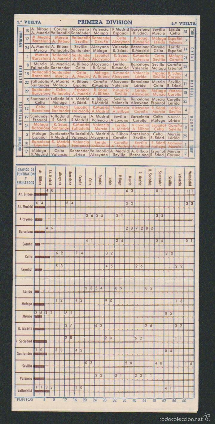 Coleccionismo deportivo: Calendario y resultados de liga de primera-segunda división.Temporada 1950-1951.Productos Lea. - Foto 2 - 57800215