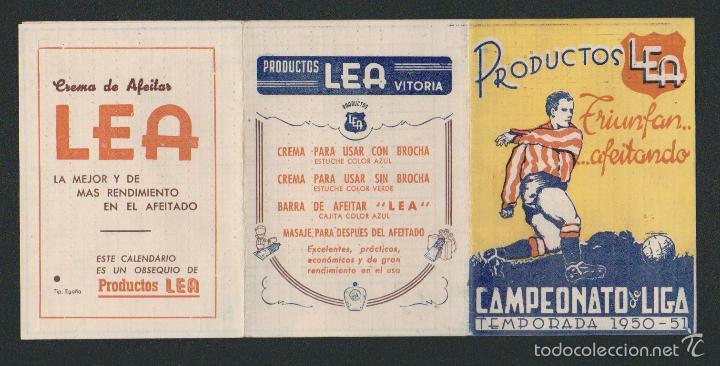 Coleccionismo deportivo: Calendario y resultados de liga de primera-segunda división.Temporada 1950-1951.Productos Lea. - Foto 5 - 57800215