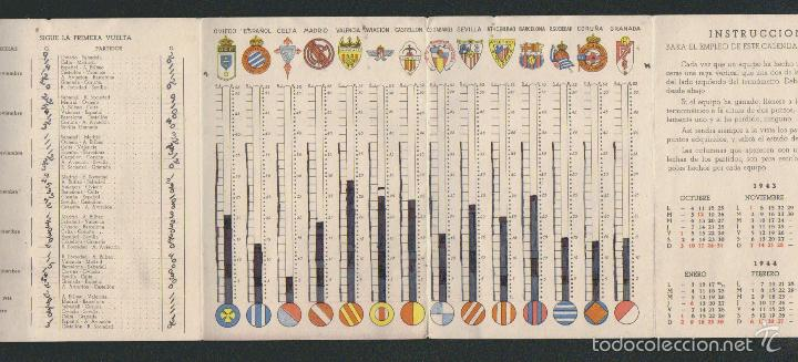 Coleccionismo deportivo: Calendario estadistico del campeonato nacional de primera división de liga para 1943-1944.Ceregumil - Foto 3 - 57800264