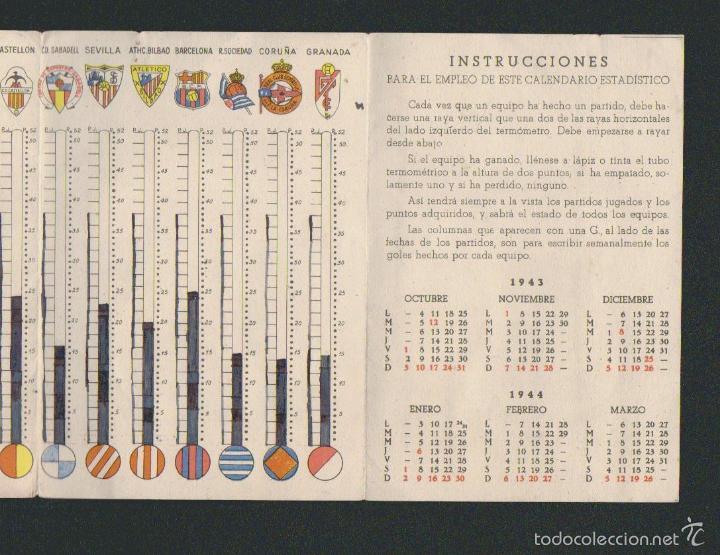 Coleccionismo deportivo: Calendario estadistico del campeonato nacional de primera división de liga para 1943-1944.Ceregumil - Foto 5 - 57800264