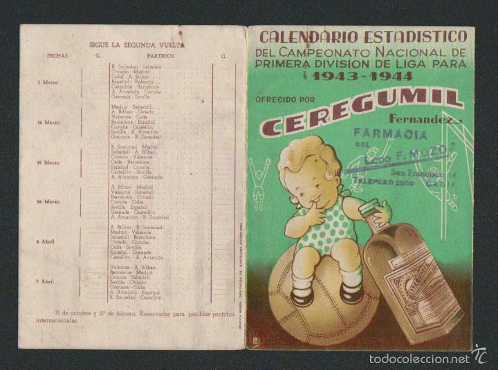 Coleccionismo deportivo: Calendario estadistico del campeonato nacional de primera división de liga para 1943-1944.Ceregumil - Foto 6 - 57800264