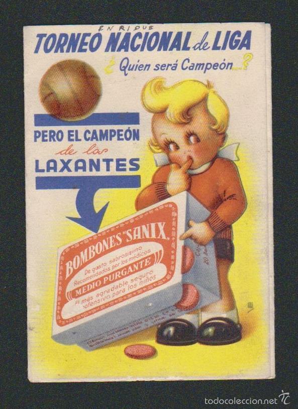 CALENDARIO NACIONAL DE LIGA.1ª DIV.TEMP.1944-45.PUBLICIDAD DE PURGANTES: BOMBONES SANIX. (Coleccionismo Deportivo - Documentos de Deportes - Calendarios)