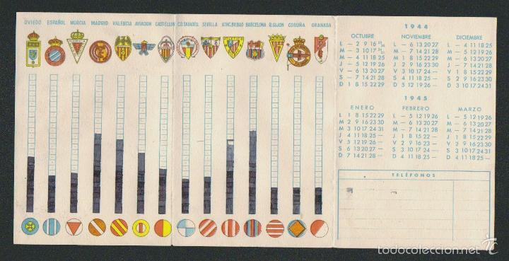 Coleccionismo deportivo: Calendario nacional de liga.1ª div.Temp.1944-45.Publicidad de purgantes: Bombones Sanix. - Foto 2 - 57800484