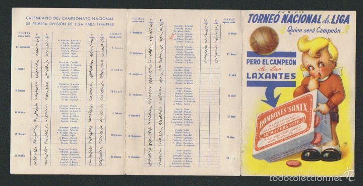 Coleccionismo deportivo: Calendario nacional de liga.1ª div.Temp.1944-45.Publicidad de purgantes: Bombones Sanix. - Foto 3 - 57800484