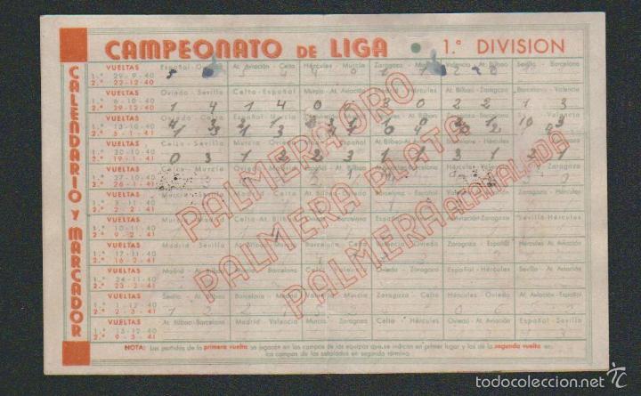 Coleccionismo deportivo: Calendario y marcador futbolistico.1ª div.Campeonato 1940-41.Publicidad de hojas de afeitar Palmera. - Foto 2 - 57825166