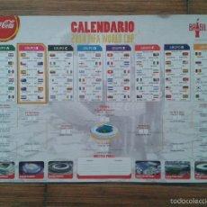 Coleccionismo deportivo: CALENDARIO 42CM X 29CM MUNDIAL DE BRASIL 2014 COPA DEL MUNDO BRAZIL 14 COCA-COLA FIFA WORLD CUP. Lote 57996431