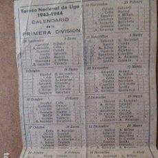 Coleccionismo deportivo: TRIPTICO . CALENDARIO NACIONAL DE LIGA 1943-1944. . Lote 62328764
