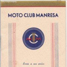 Coleccionismo deportivo: PR-106.PEQUEÑO LIBRITO-CALENDARIO MOTO CLUB MANRESA, AÑO 1947.. Lote 62612596