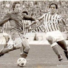 Coleccionismo deportivo: ESTADIO BENITO VILLAMARIN,AÑOS 70, REAL BETIS - BARCELONA, ALEX Y ESTEBAN,178X128MM. Lote 64442163
