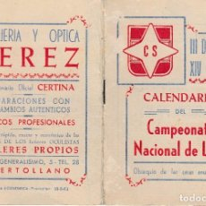 Coleccionismo deportivo: 1962 63 PUERTOLLANO (CIUDAD REAL). MANCHEGO VALDEPEÑAS CALVO SOTELO. CALENDARIO FUTBOL 3ª DIVISION. Lote 66254630