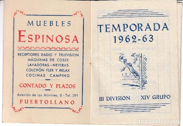 Coleccionismo deportivo: 1962 63 PUERTOLLANO (CIUDAD REAL). MANCHEGO VALDEPEÑAS CALVO SOTELO. CALENDARIO FUTBOL 3ª DIVISION - Foto 2 - 66254630
