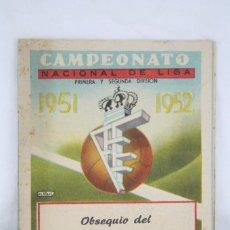 Coleccionismo deportivo: ANTIGUO CALENDARIO DE FÚTBOL - CAMPEONATO DE LIGA 1951-1952 / 51-52 - BANCO CENTRAL. Lote 67823053