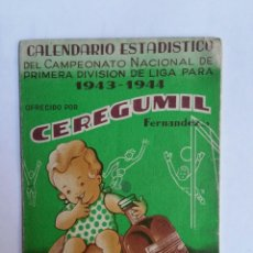Coleccionismo deportivo: CALENDARIO ESTADISTICO LIGA FUTBOL 1943-1944 RELLENADO. Lote 72275439